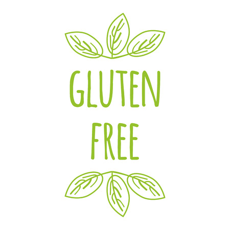 Vector typographic banner with phrase gluten free decorated hand drawn green leaves. Hand drawn element for labels, logos, badges, stickers, icons. Calligraphic and typographic design for organic food Vettoriali
