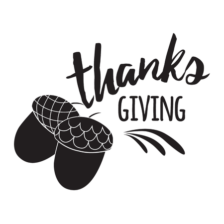 Acorns icon in black style isolated on white background decorated abstract ornament. Canadian Thanksgiving Day symbol vector illustration. Black print with text Thanks Giving. Fall decorative label
