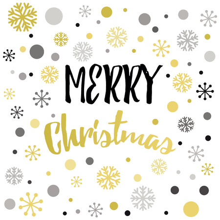 christmas postcard: A Vector lettering element Merry Christmas design template in golden color decorated gold snowflakes isolated on the white. Template for print, sign, postcard, booklet, leaflets, poster.