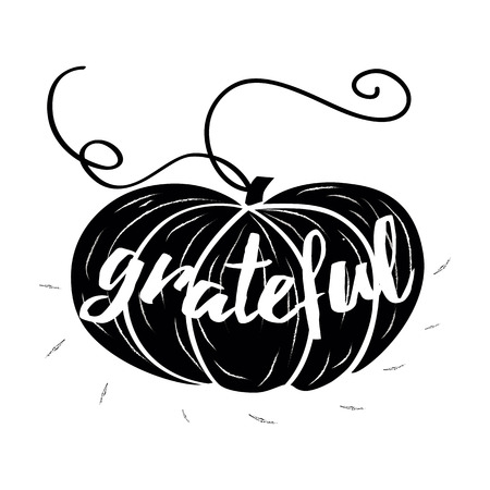 Vector card with hand drawn black pampkin and text Grateful on white background. Print, banner, logo, sign, label