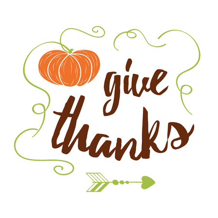Vector banner with hand drawn orange pampkin and text Give Thanks on white background. Print, banner,  sign, label