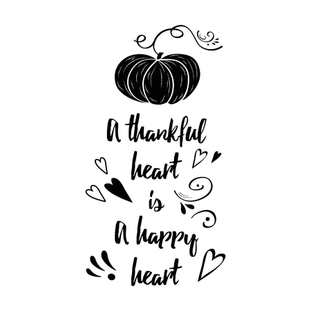 Handdrawn thanksgiving label with pumpkin and text on white background