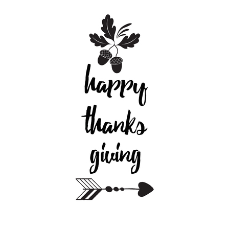 Hand drawn thanksgiving wish with acorns, oak leaves, text on white background