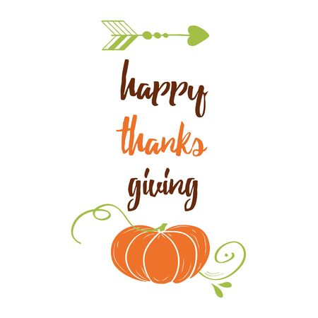 Hand drawn thanksgiving label with pumpkin and text on white background