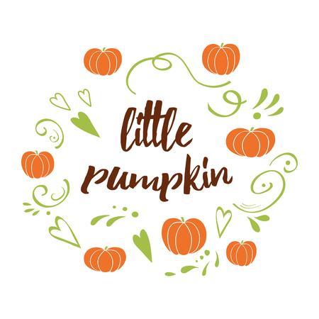 Little pumpkin - baby shower hand drawn fall design with green cute ornament