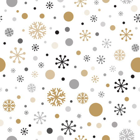 Classic winter seamless gold and black colors pattern. Snowflakes anв зolka dot ornate