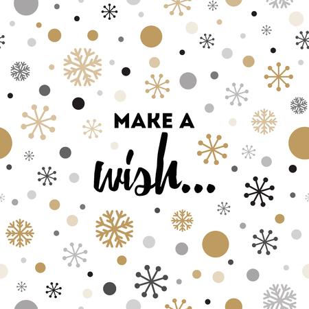 Winterkarte mit Text Machen Sie einen Wunsch, goldene Schneeflocken, Tupfenmuster Standard-Bild - 88075522
