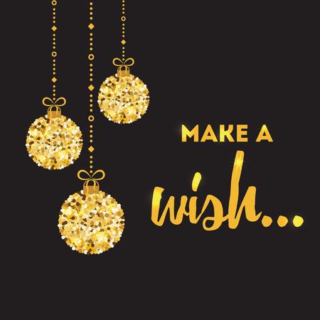 Vektor inspirierend Zitat Machen Sie eine Wunsch-Design-Banner in goldener Farbe verziert Gold Weihnachtskugeln auf dem schwarzen Hintergrund isoliert. Vorlage für Druck, Zeichen, Postkarte, Broschüre, Broschüren, Poster. Standard-Bild - 88131425