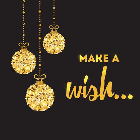 Inspirierend Zitat des Vektors Machen Sie eine Wunschdesignfahne verzierte Funkeln goldene Weihnachtsbälle Standard-Bild - 88470686