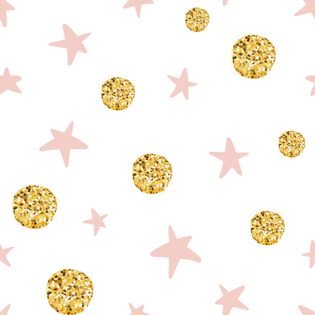 Hand drawn seamless pattern of gold balls and pink stars for Christmas wallpaper or baby shower Illustration