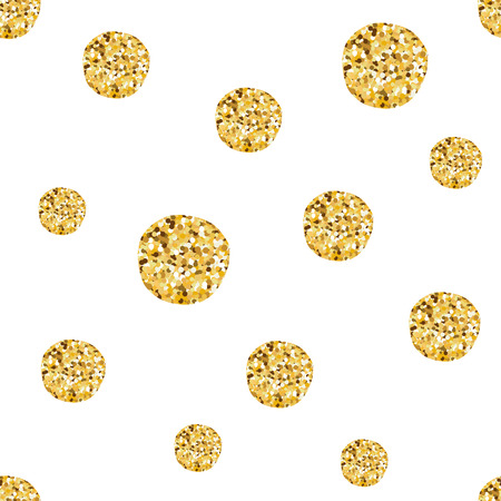 Hand drawn seamless pattern of gold balls for Christmas wallpaper or baby shower design Illustration