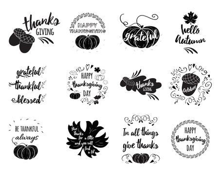 Ensemble de vecteur de v?ux de Thanksgiving superpositions, conception d'étiquettes de lettrage avec citrouille, feuille, chêne, érable, citations