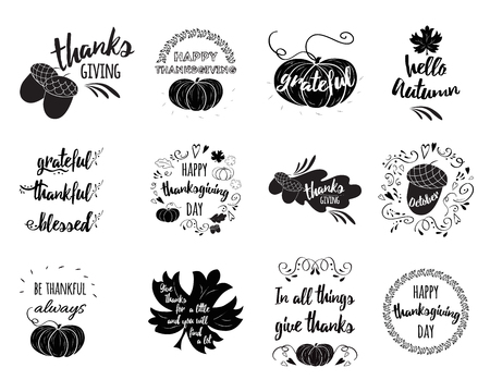Vector set of Thanksgiving wishes overlays, lettering labels design set with pumpkin, leaf, oak, maple, quotes Vectores