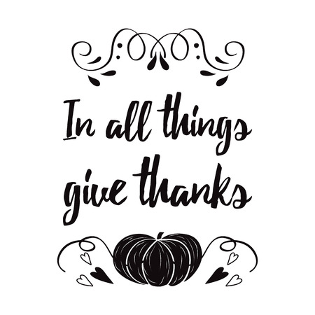 Vector Card With Hand Drawn Black Pampkin And Thanksgiving Inspirational  Quote On White Background. Print