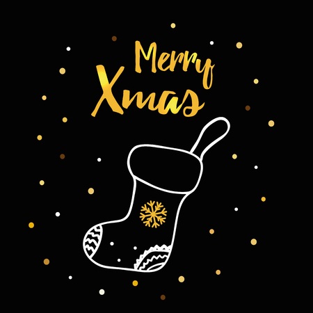 Christmas hand drawn card with Christmas sock, text Merry Christmas in bright gold Color. Illustration
