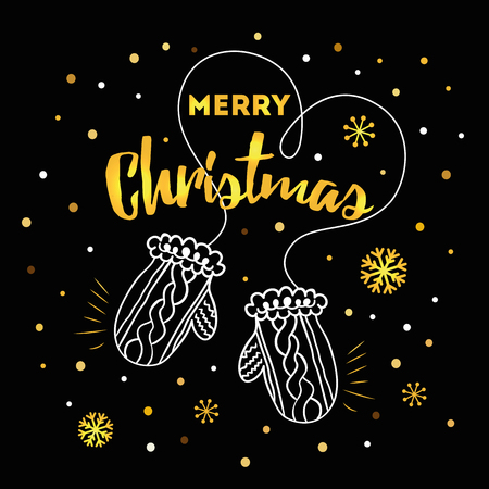 Winter card with text Merry Christmas, gold snowflakes, love hand drawn mittens template isolated on the black. New Year design for print, sign, postcard, booklet, leaflets, poster, banner, invitation. Ilustracja