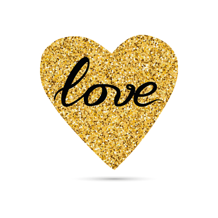 Hand drawn modern gold sparkle heart shape, text love on white Stock Photo