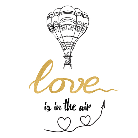 Positive hand drawn slogan Love is in the air decorated hot balloon, hearts, sky in golden color Stock Photo