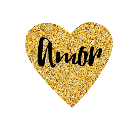 Hand drawn gold sparkle heart, text love Typography print in gold, black color Design calligraphy inscription for wedding, Saint Valentines Day, card, banner, invitation, symbol. Amor Title in Spanish Illustration
