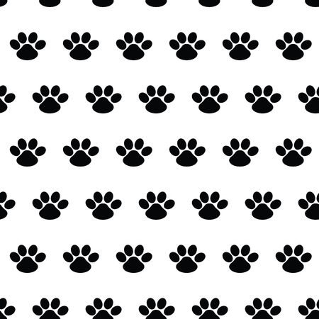 Animal footprint. Seamless vector pattern with traces of dogs on white background. Cute endless template for 2018 year. Paw