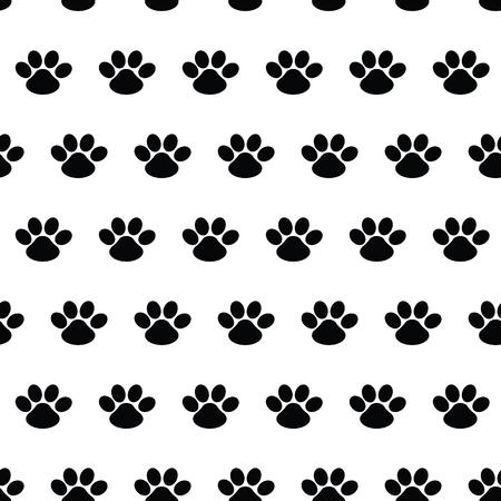 Dierlijke voetafdruk. Naadloos vectorpatroon met sporen van honden op witte achtergrond. Schattig eindeloze sjabloon voor 2018 jaar. Poot
