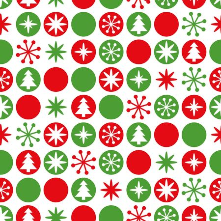 Simple geometric seamless Christmas pattern. Traditional green, red color. Bright New Year background decorated snowflakes, Christmas tree, ball Vector winter design for wallpaper, fabric, textile