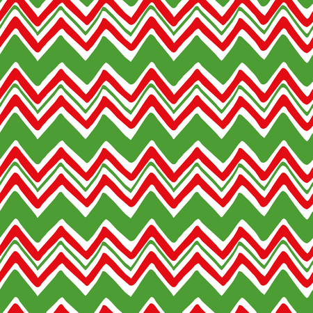 Classic retro geometric Christmas pattern in traditional green, red color, shevron ornament. Traditional bright New Year decorative background for wallpaper, fabric, textile, package, gift. Vector