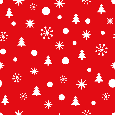 Red Christmas seamless pattern with small snowflakes, snow and Christmas trees. New Year background for wallpaper, fabric, textile, packaging, gift, template, banner, print. Winter vector illustration