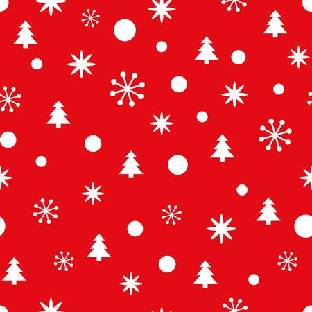 Rotes Weihnachtsnahtloses Muster mit kleinen Schneeflocken, Schnee und Weihnachtsbäumen. Hintergrund des neuen Jahres für Tapete, Gewebe, Gewebe, Verpackung, Geschenk, Schablone, Fahne, Druck. Winter-Vektor-Illustration Vektorgrafik