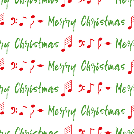Christmas seamless pattern with red notes, green phrase Merry Christmas on white. New Year background for wallpaper, fabric, textile, packaging, template, banner, print. Winter vector illustration