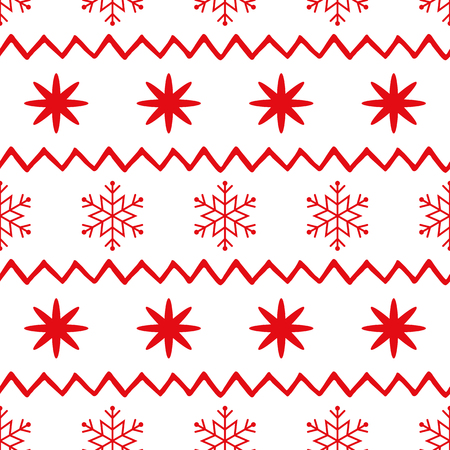 Vector scandinavian seamless pattern with red snowflakes, shevron on white. New Year background for wallpaper, fabric, textile, packaging, gift, template, banner, print. Winter vector illustration
