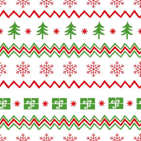 メリークリスマスツリー、雪片、サンタのプレゼントと白で shevron シームレスなパターン。壁紙、ファブリック、テキスタイル、パッケージングの