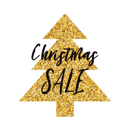 Vector banner Christmas Sale design template decorated golden Christmas tree shape isolated on the white. Decorative for print, sign, postcard, booklet, leaflets, poster. Vector Xmas illustration