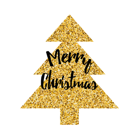 Merry Christmas logo decorated sparkle golden Christmas tree isolated on the white. New Year design template for print, sign, postcard, booklet, leaflets, poster, banner, invitation, tag