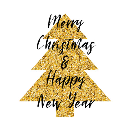 Vrolijke Kerstmis en Gelukkige verfraaide de fonkeling gouden Kerstboom van de Nieuwjaartekst die op het wit wordt geïsoleerd. Nieuwjaar ontwerpsjabloon voor afdrukken, teken, briefkaart, boekje, folders, poster, banner uitnodiging Stock Illustratie