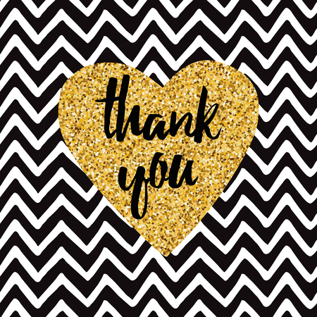 Hand drawn gold sparkle heart, text Thank you on zig zag background. Modern romantic typography print in golden and black colors. Design calligraphy inscription for wedding or Saint Valentines Day Illustration