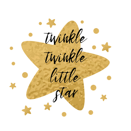 Twinkle twinkle little star text with cute golden stars for girl baby shower card template. Vector illustration. Banner for children birthday design, label, sign, print. Inspirational quote Ilustração