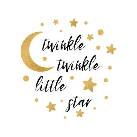 Twinkle funkeln kleiner Sterntext mit nettem Goldstern und Mond für Mädchenbabyduschekartenschablone Vektorillustration. Banner für Kinder Geburtstag Design, Logo, Etikett, Zeichen, Druck. Inspirierendes Zitat Logo