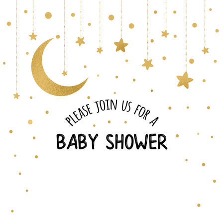 Vector Baby Shower Invitation Template with sparkle golden moon, stars on white