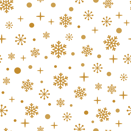 Grunge gold snowflakes on the white background. Seamless winter time pattern.