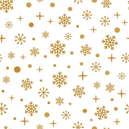 Grunge Goldschneeflocken auf dem weißen Hintergrund. Nahtloses Winterzeitmuster.