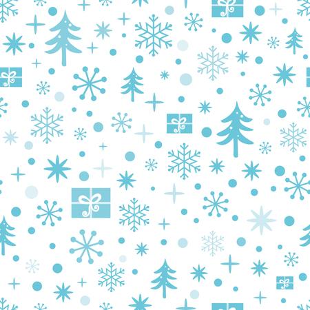 Nahtloses Muster des Weihnachten und des neuen Jahres mit blauen Schneeflocken, Schnee, Weihnachtsbaum, Geschenke. Winterdesign für Tapete, Verpackung, Verpackung, Verpackung. Vektor-Illustration. Nette Textil- oder Gewebeschablone Vektorgrafik