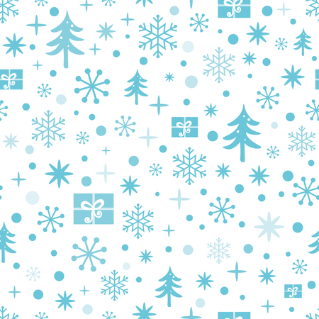 Christmas and New Year seamless pattern with blue snowflakes, snow, Christmas tree, gifts. Winter design for wallpaper, packaging, wrap, wrapping. Vector illustration. Cute textile or fabric template