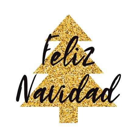 Logo de Noël joyeux décoré sparkle arbre de Noël doré isolé sur le blanc. Modèle de conception de nouvel an pour impression, signe, carte postale, brochure, affiche, bannière, invitation, logo Inscription en espagnol
