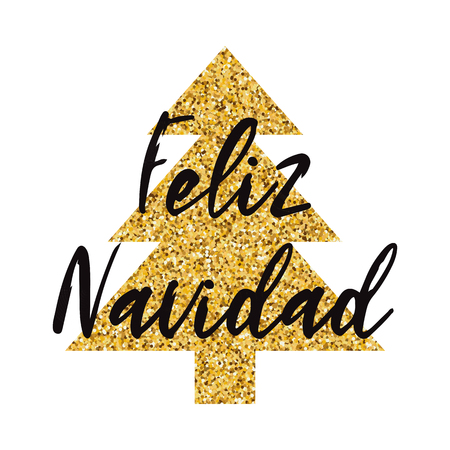 Merry Christmas logo decorated sparkle golden Christmas tree isolated on the white. New Year design template for print, sign, postcard, booklet, poster, banner, invitation, logo Inscription in Spanish