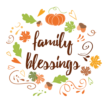 Hand drawn thanksgiving card with pumpkin maple leaves text Family Blessing Ilustração