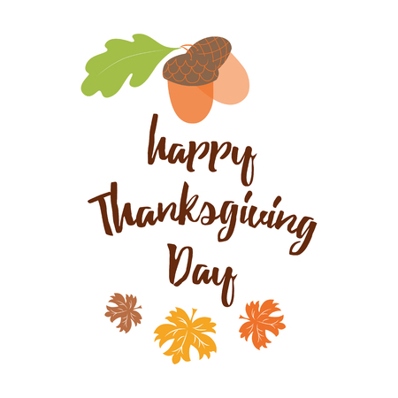 Hand drawn thanksgiving ltypography sign with acorn maple leaves text on white background Banco de Imagens