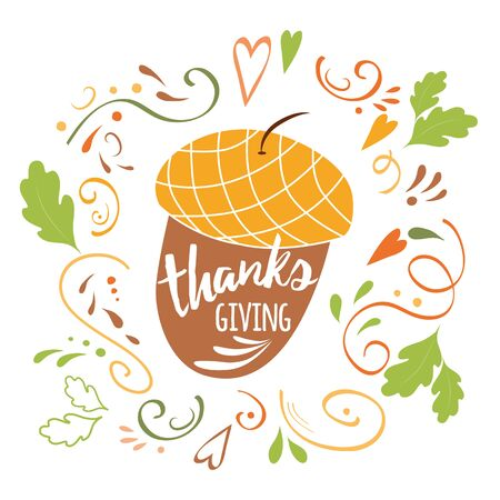 Acorns print Thanks Giving. Vector Thanksgiving day with abstract ornament
