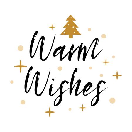 暖かい願いのロゴは、クリスマスツリー、金の雪片、星を飾りました。バナー, カード, おめでとう, タグ  イラスト・ベクター素材