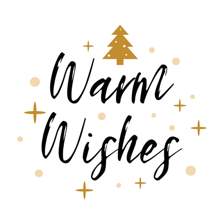 Warm wishes logo decorated Christmas tree, gold snowflakes, stars. Banner, card, congratulation, tag 向量圖像